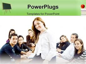 PowerPoint template displaying students sitting together poses for group picture with leader sitting on desk