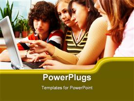 PowerPoint template displaying four youths learning together from a laptop in a schol setting