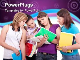 Group of young teenagers studying on white powerpoint theme