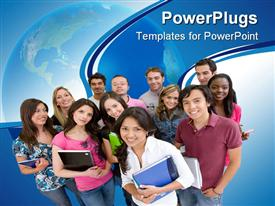 PowerPoint template displaying group of smiling college students standing together with note books and other supplies