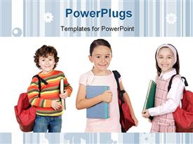 PowerPoint template displaying three little kids with backpacks dressed for school on white background