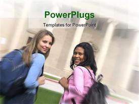 PowerPoint template displaying two pretty female students smiling and carrying school bags