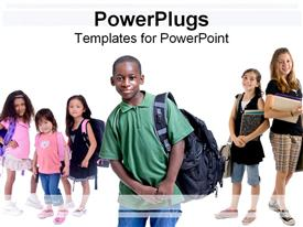 PowerPoint template displaying a number of school going kids with white background