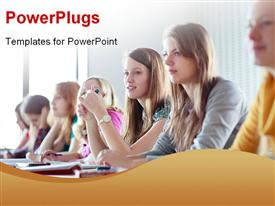 PowerPoint template displaying students seated at desk in class learning