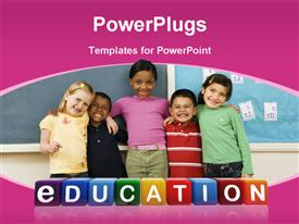 PowerPoint template displaying a number of kids with bluish background and place for text