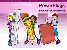PowerPoint template displaying line drawings of three children with ruler pencil book