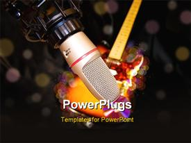 PowerPoint template displaying recording studio microphone with electric guitar on black. Defocused lights added in the background.
