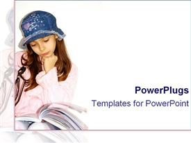 PowerPoint template displaying pretty young female reading a book with a blue hat