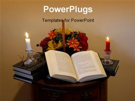 PowerPoint template displaying open book with flowers, burning candles, eyeglasses, and flowers on a small table in the background.