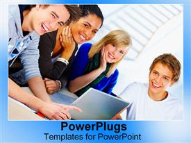 PowerPoint template displaying lots of students forming a group with a laptop
