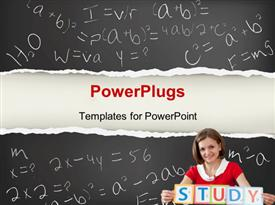 PowerPoint template displaying young smiling teacher with STUDY letters and blackboard in the background