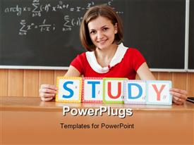PowerPoint template displaying young smiling teacher with STUDY letters on Blackboard background