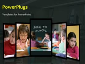 PowerPoint template displaying animated learning depiction with collage of kid in classroom and chalkboard