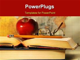 PowerPoint template displaying red apple, eye glasses and pencil on open book