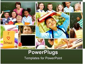 PowerPoint template displaying group of students and teacher learning