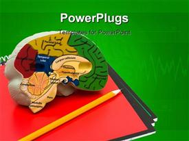 PowerPoint template displaying a representation of brain with greenish background