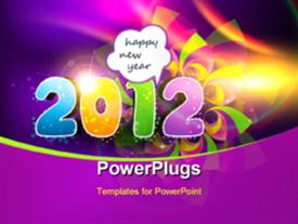 PowerPoint template displaying stylish colorful happy new year 2012 design