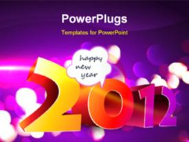 PowerPoint template displaying stylish happy new year 3D style background