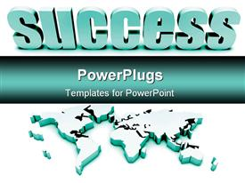 PowerPoint template displaying blue Global Success With 3D and International Map