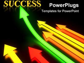 Bright glowing arrows in dark with reflection and one directed up powerpoint template