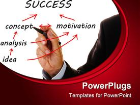 PowerPoint template displaying business hand writes the way from idea to success on flowchart in the background.