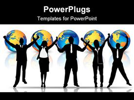 PowerPoint template displaying business team full of success with arms up in the background.