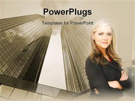 PowerPoint template displaying a professional with skyscrapers in the background