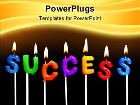 PowerPoint template displaying colorful rainbow candles spelling out success in a business celebration in the background.