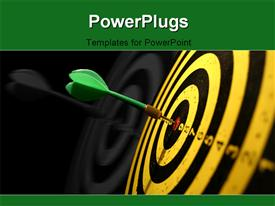 PowerPoint template displaying a green dart hitting the middle of a dart board