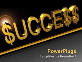 PowerPoint template displaying 3D golden success word with dollar sign instead of s letter in word