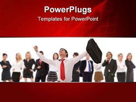 PowerPoint template displaying team of business people with happy business man holding suitcase in raised hand