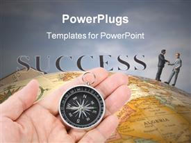 PowerPoint template displaying man holding compass in palm with men shaking hands on earth globe