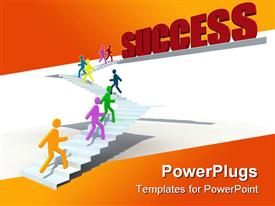 PowerPoint template displaying human figures try the scaling toward the success in the background.
