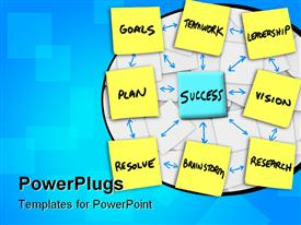 PowerPoint template displaying instructions for success in an organization written on sticky notes in the background.
