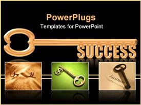 PowerPoint template displaying collage of gold keys with gold success skeleton key on black background