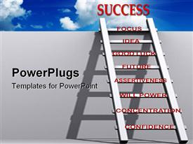 PowerPoint template displaying ladder of success leaning against wall reaching the sky with words on the rungs
