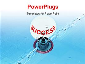PowerPoint template displaying a bulb with a bluish background and place for text
