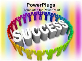 Many people of different colors surround the word Success presentation background