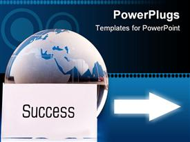 PowerPoint template displaying globe with shining arrow and success on white paper