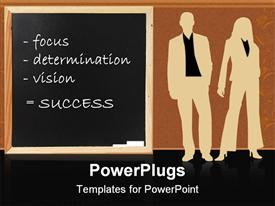 PowerPoint template displaying silhouette of man and woman beside chalkboard with success recipes written