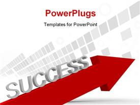 A red arrow and the word success template for powerpoint