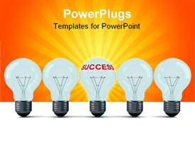 PowerPoint template displaying row of electric bulbs on a white background. 3D depiction in the background.