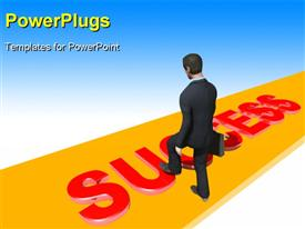 PowerPoint template displaying business man with briefcase climbs onto red word Success