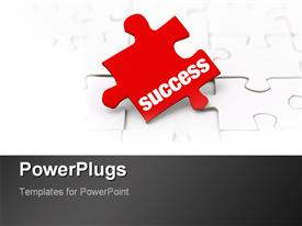 PowerPoint template displaying the key to success as a metaphor missing red puzzle piece on a white background