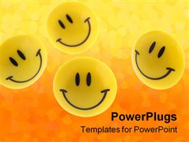 PowerPoint template displaying success abstract. A smiling symbol from the plastic in the background.