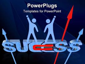 PowerPoint template displaying success direction. Computer generated 3D concept on a white background