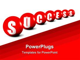 Success word made of spheres focus set in foreground powerpoint template