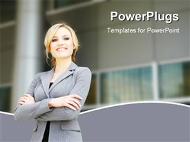 PowerPoint template displaying successful business woman