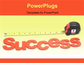 Tape measure with success as the metric powerpoint design layout
