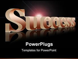 PowerPoint template displaying the word success with a dark background